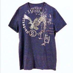 American Eagle Blue Graphic Short Sleeve Tee Shirt